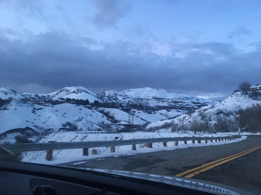 View from the highway of the mountains.