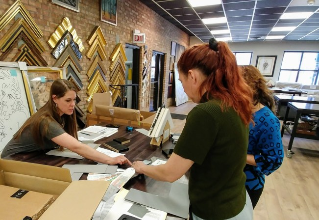Consulting on custom framing and furniture finish options