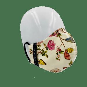 Mascarilla de moda estilo rosas y mariposas, de algodón 100%, con doble capa para filtros intercambiables, de la firma ARMATTA