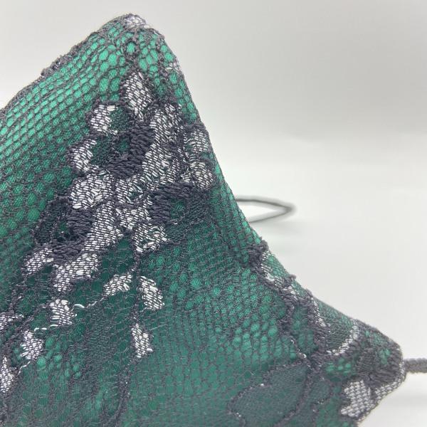 Mascarilla de satén verde nueva con encaje ARMATTA 4