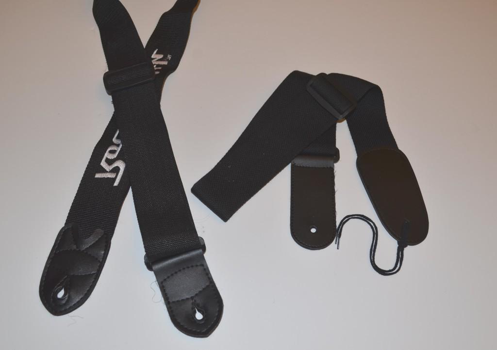 The RockSmith strap (left) versus the StrapSnake strap (right).