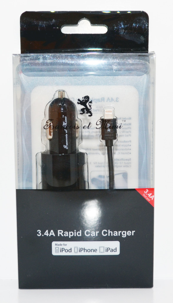 Francois et Mimi Apple Certified 3.4A Rapid Lightning Car Charger packaging.