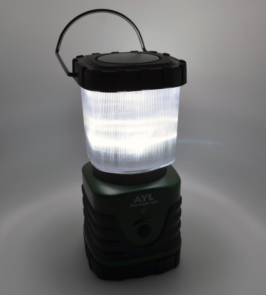 The lantern has three different lighting settings.