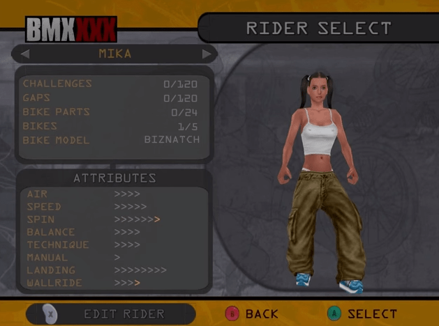 The Nintendo GameCube version lets you edit almost everything about a female rider right from the start.