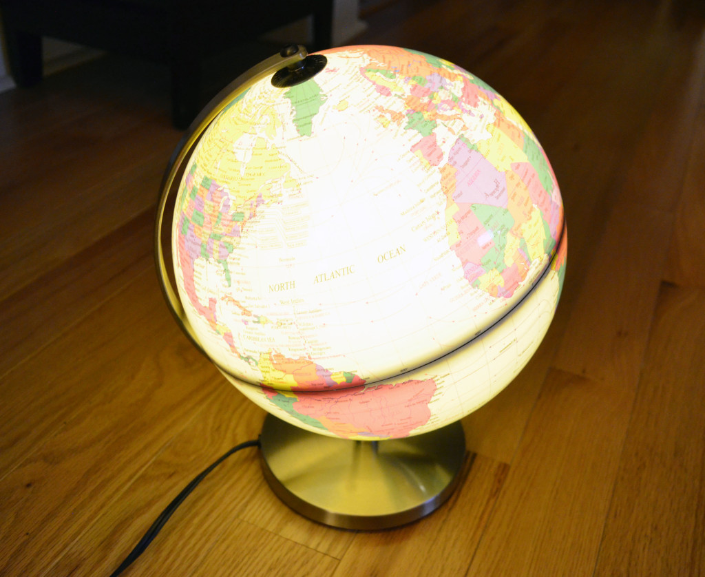 A view of the TCP Global Desktop Globe when it's illuminated.