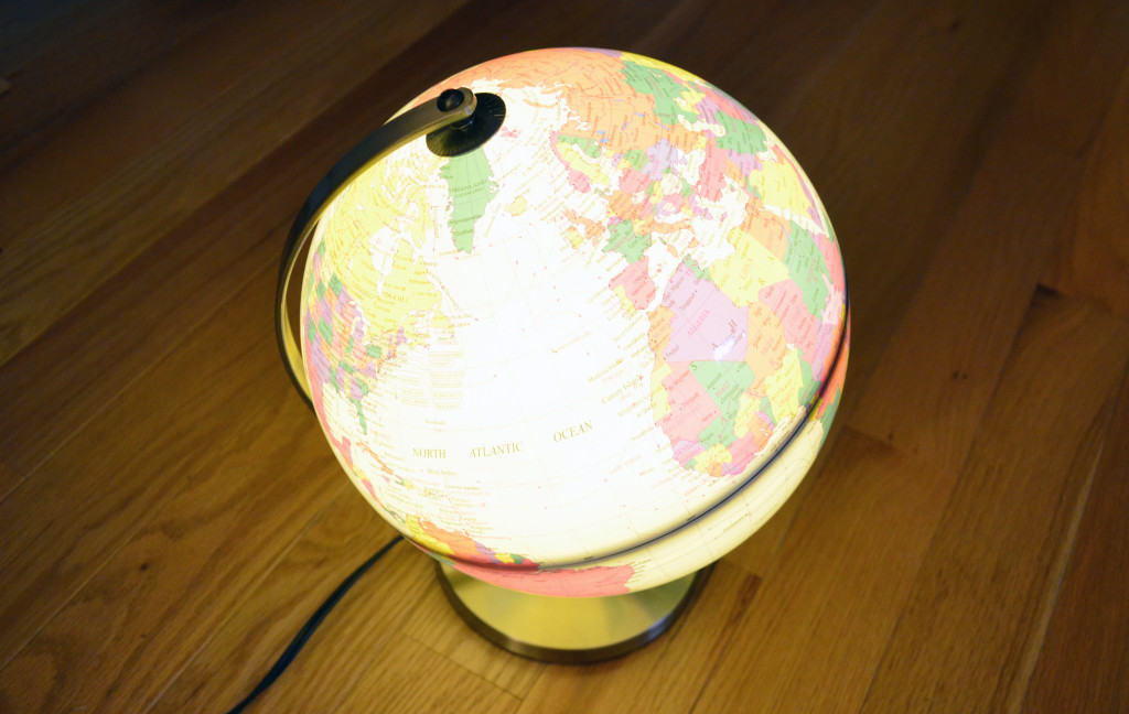 Another view of the TCP Global Desktop Globe when it's illuminated.