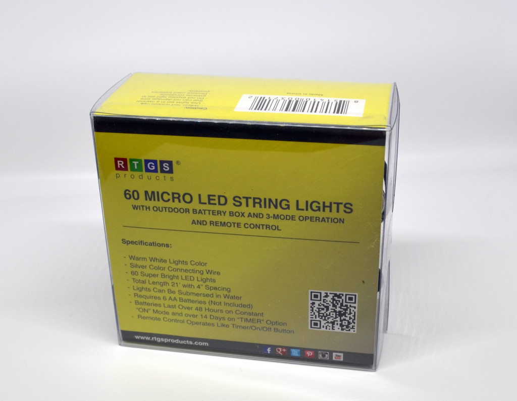 The front of the box for the RTG Products 60 Micro LED String Lights.