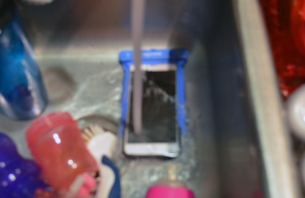 Running water over my phone.
