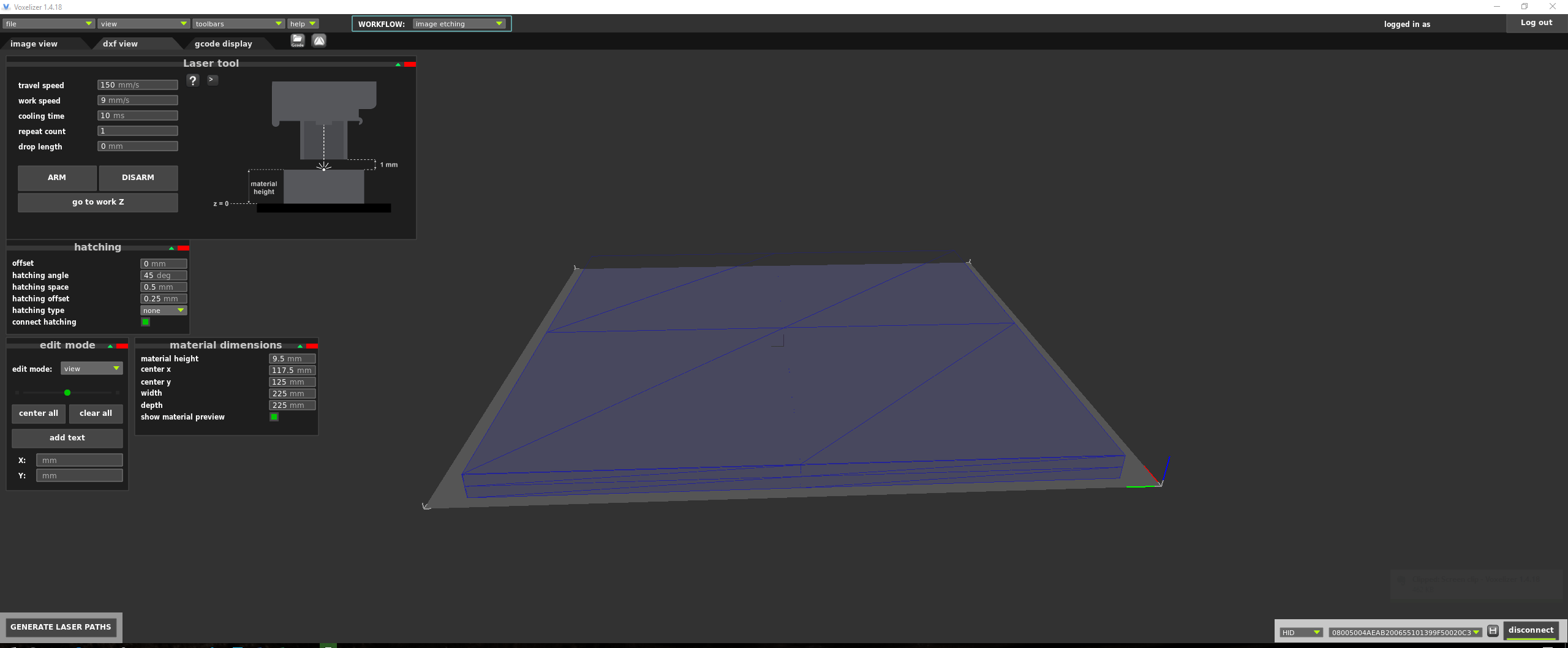 The dxf view settings.