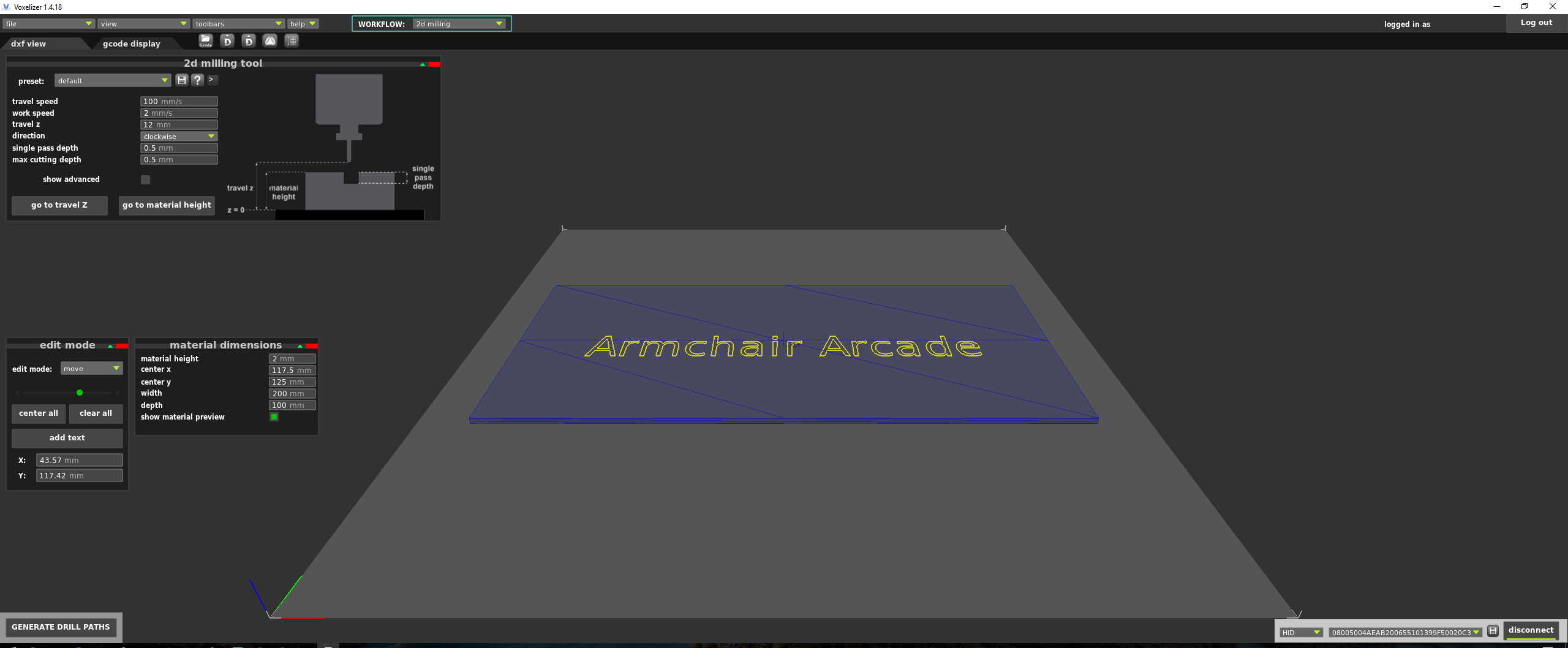 My dxf view settings in Voxelizer.