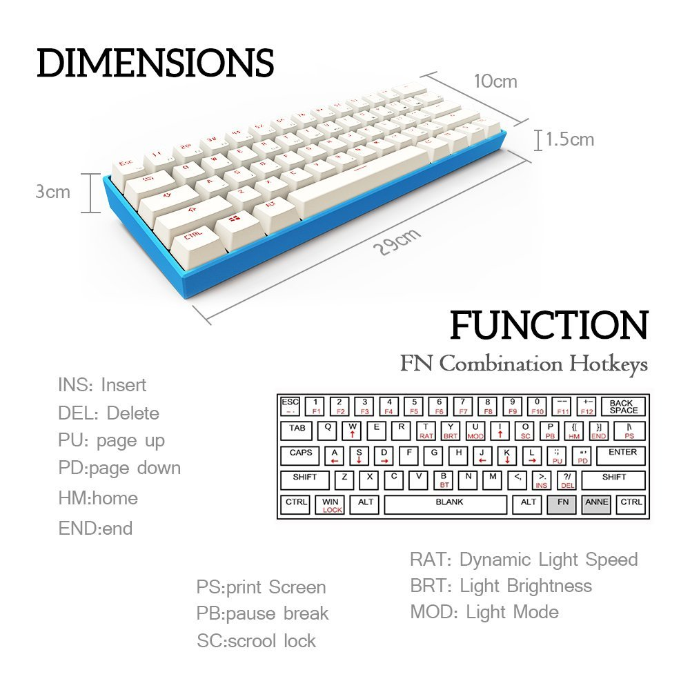 Dimensions and main hotkey functions.
