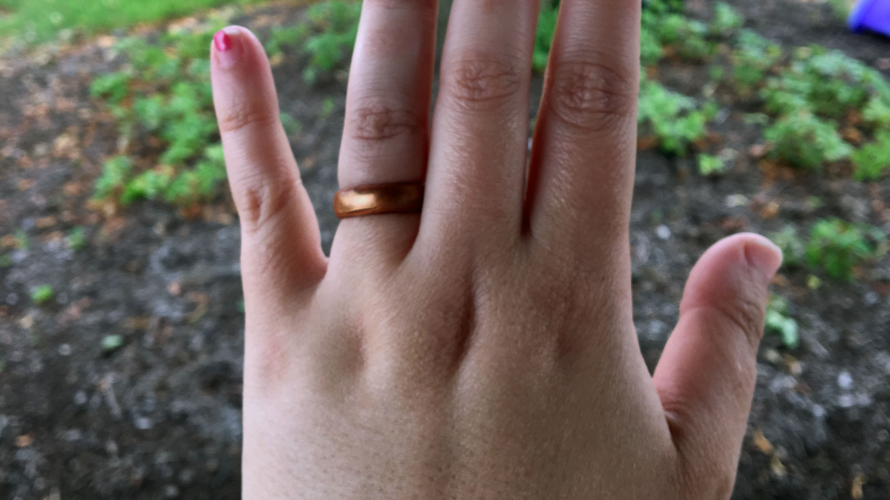 My sister's ring looks surprisingly metallic.