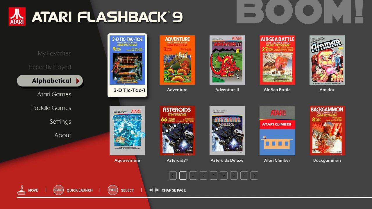 AtGames Atari Flashback 9 console Main Menu
