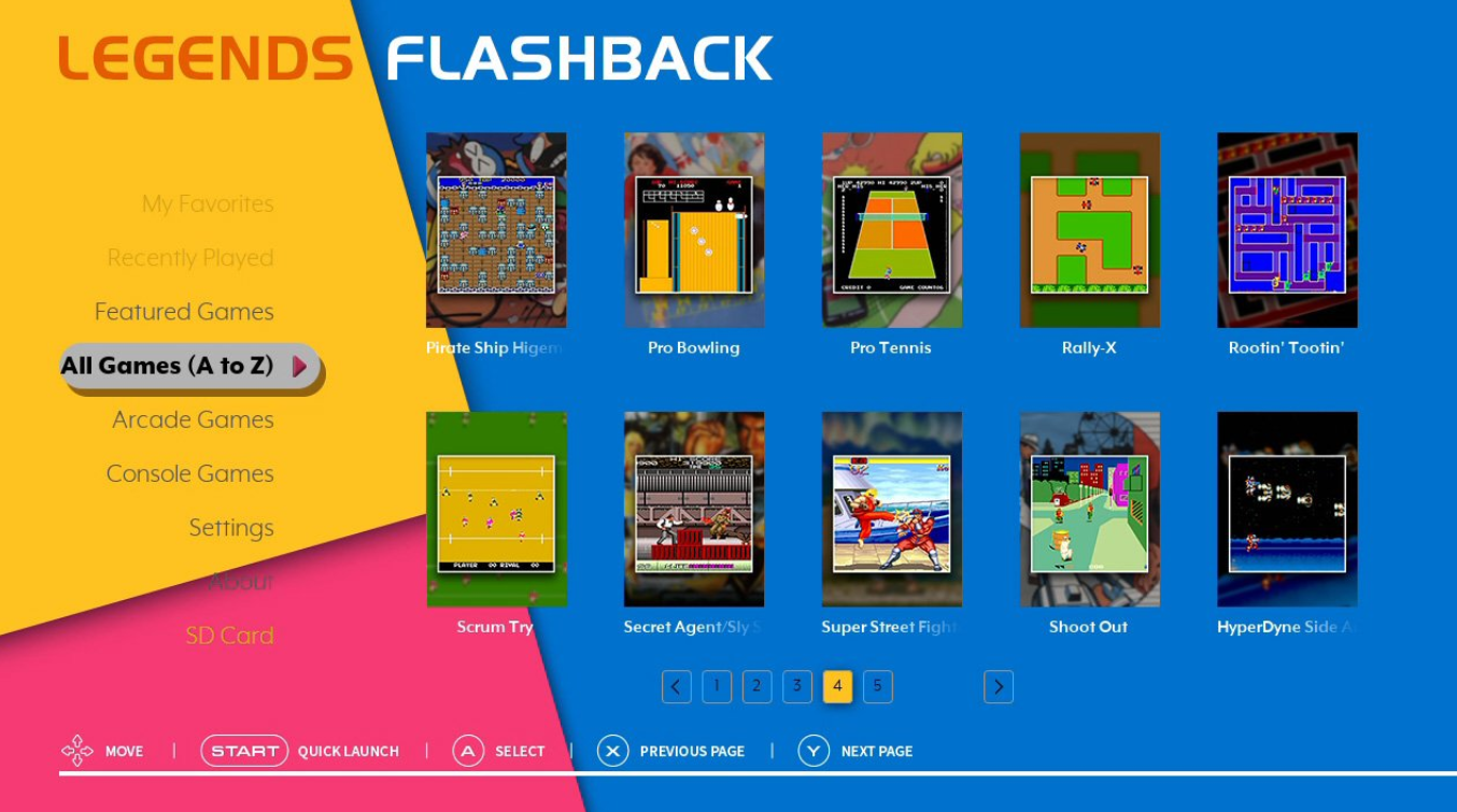 AtGames Legends Flashback console Main Menu