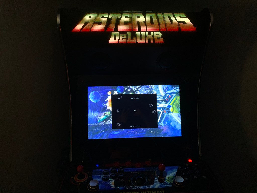 Asteroids Deluxe running on the Legends Ultimate with Pixelcade