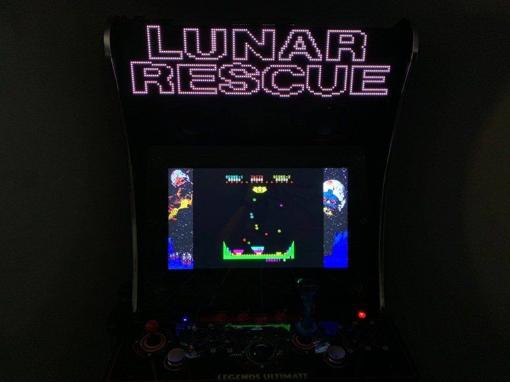 Lunar Rescue running on the Legends Ultimate with Pixelcade/BitPixel and PixelcadeX app