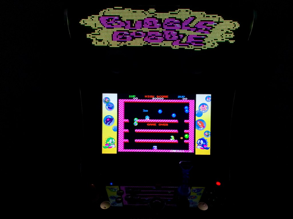 Bubble Bobble running on the Legends Ultimate with the PixelcadeX app and marquee