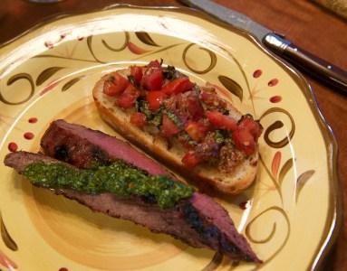 Steak with Chimichurri & Tomato Bruschetta