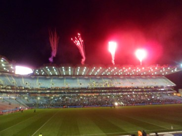 Fireworks celebrate the opening of the League, commemerate the late Kevin Heffernan and Garda Adrian Donohoe, and mark the 100th Anniversary of Páirc an Chrócaigh.