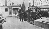 Rear Adm. David G. Farragut (right), commander of the West Gulf Blockading Squadron, stands with Capt. Percival Drayton at the wheel of the squadron flagship, the USS Hartford, in Mobile Bay, Alabama, 1864. (Naval Historical Center)