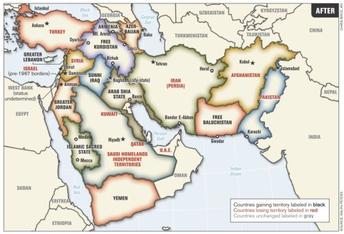 Middle East borders, as reimagined by Col. (ret.) Ralph Peters (2006).