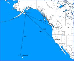 Distances from USCG cutter homeports to Kodiak, Alaska. (Source: U.S. Coast Pilot 8, Appendix II)