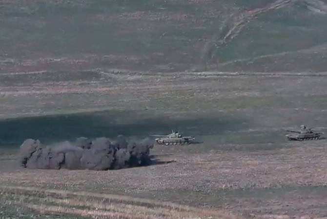 Military releases footage of Artsakh destroying attacking Azeri tanks