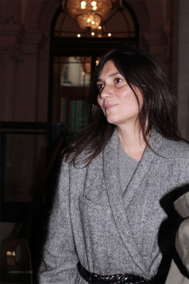 Emmanuelle Alt at Paris Fashion Wek in Gray coat