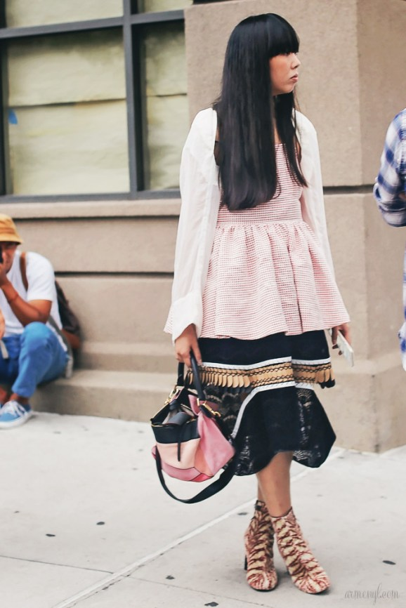 Susie Lau Bubble with Loewe bag pink NYFW Fashion Bloggers