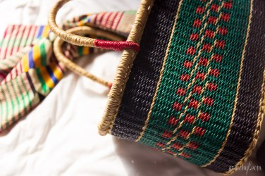 Woven Basket for Shopping for Fashion in Ghana, Accra, Osu West Africa style photographed by Fashion blogger Armenyl
