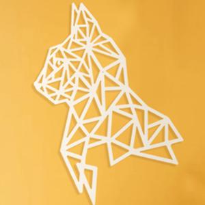 Tête de Chat - 55/35 cm - Argent en Bois