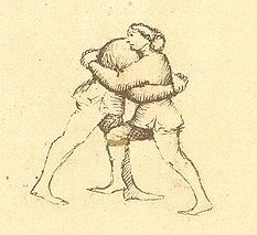 The Player on the right has the inside position, while the Companion on the left has the outside position. Both employ back holds posta frontale) and can enact a throw.
