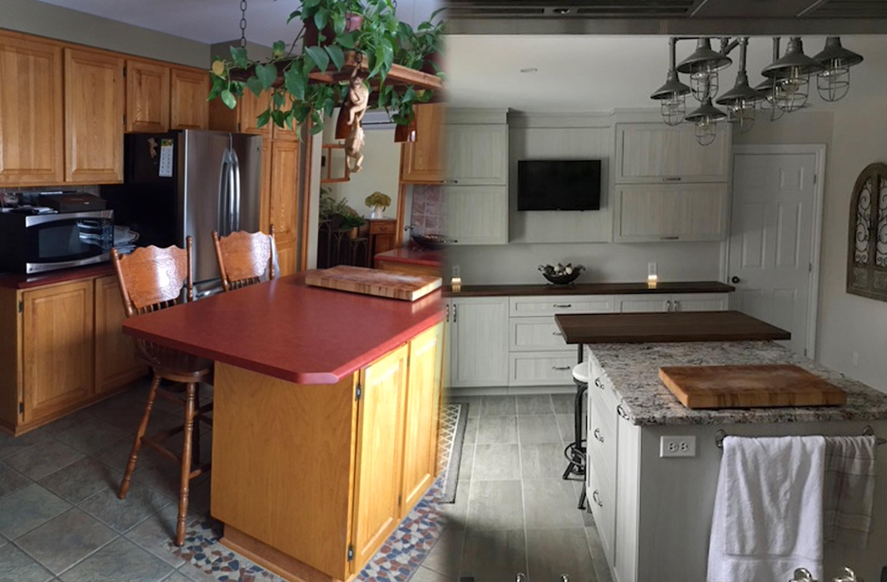 avant apr s transformation de cuisine de mme h. Black Bedroom Furniture Sets. Home Design Ideas