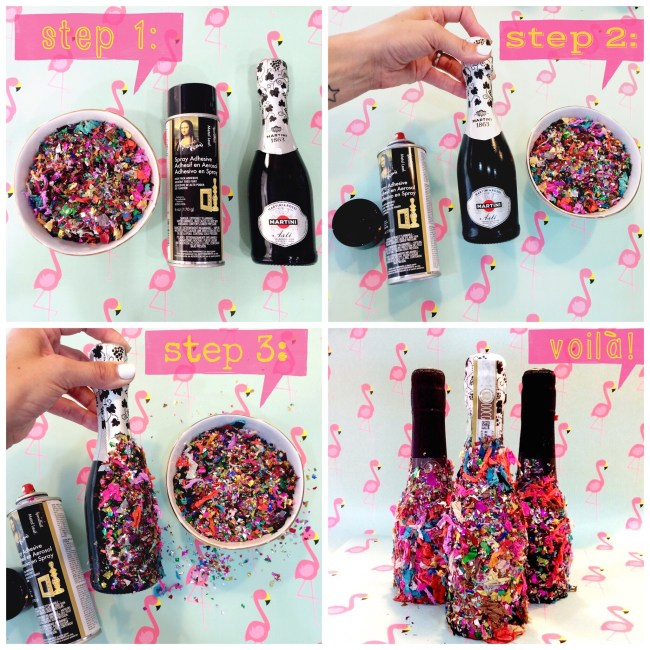 Step 1: Gather supplies. Champagne, confetti & spray adhesive. Step 2: Spray adhesive onto champagne bottle (preferably outside). Step 3: Sprinkle the confetti on the bottle, pressing it on to make sure it's adhered, then gently brush off the excess. Voila! fabulous Champetti!