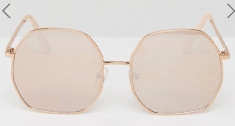 7. ASOS 'Metal Hexagon Sunglasses Rose Gold' $24