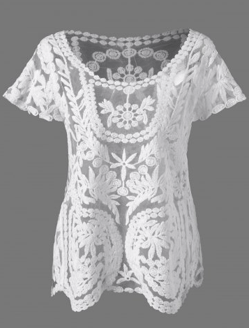 14. RoseGal - Lace See Through Blouse - White $9.32