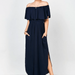 6. RoseGal - Off Shoulder Long Flounce Slit Formal Dress - Purplish Blue $23.65