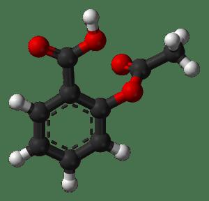 A ball-and-stick representation of the aspirin molecule