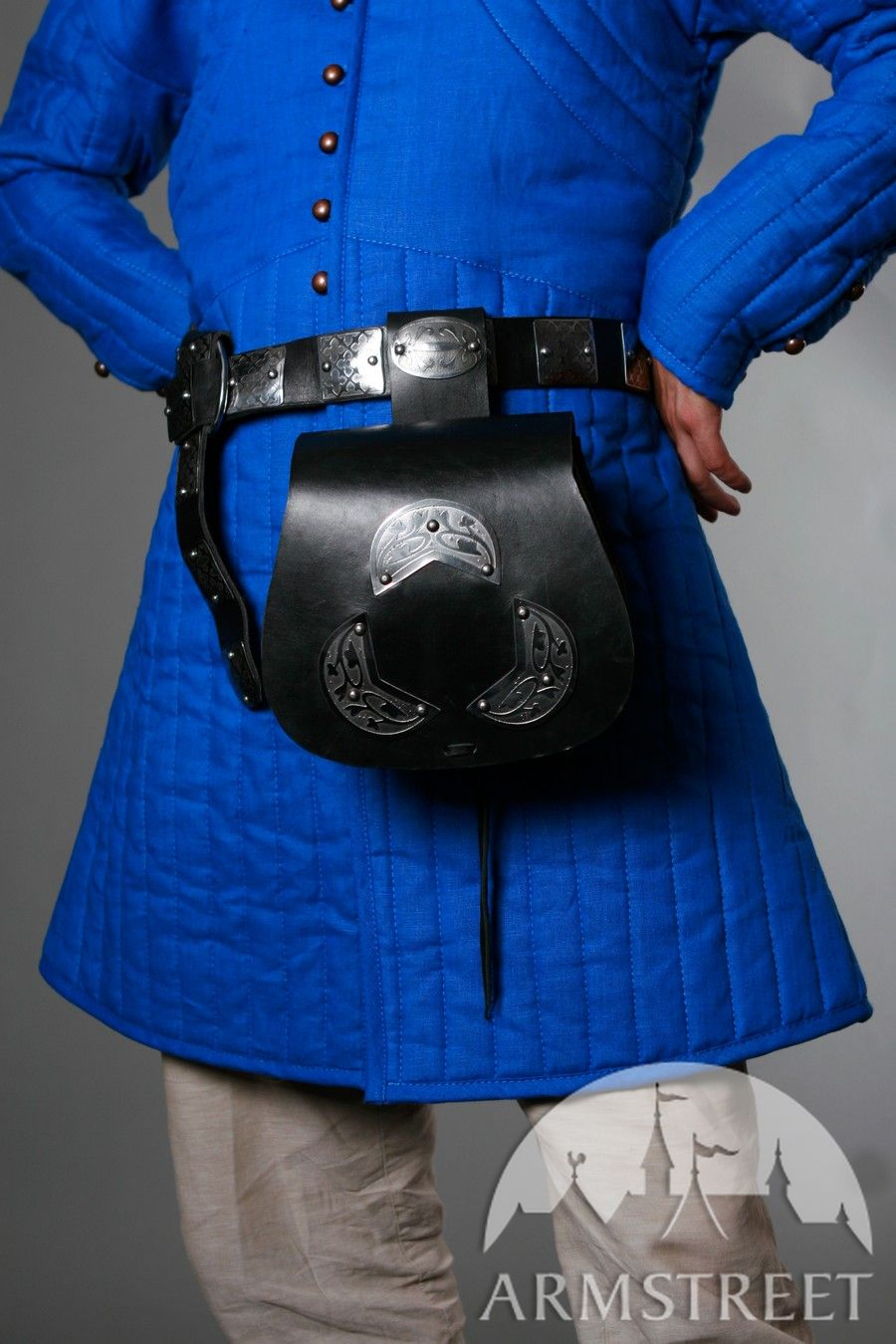 Medieval Leather Bag With Etching Pattern For Sale