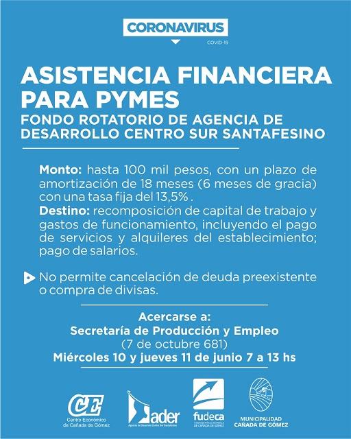 Cañada de Gomez. Municipio inscribe para asistencia financiera destinada a Pymes.