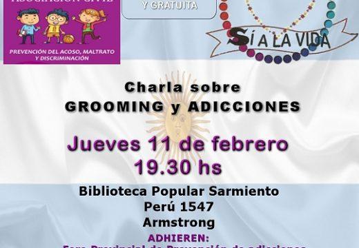 Hoy, Charla sobre Grooming y Adicciones en la Biblioteca Popular Sarmiento.
