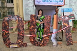 Installation at entrance to main building of the Masina hospital...inauguration of World NoTobacco on Saturday 27 May.Done by Voice Against Tobacco..an N. G. O.