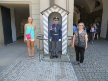 Julia and Kathy help the guard be serious