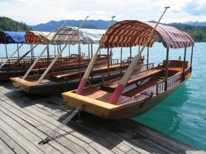 The pletna boats for lake transportation: built only by locals