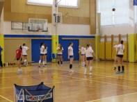 The Slovenian women warming up