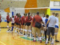 Post-match handshake. OU lost in 5 sets (close)
