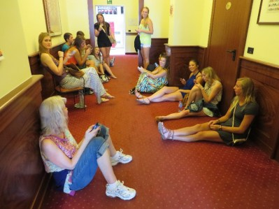 Waiting to get into our rooms in Venice