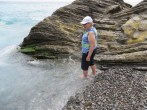 Wading in the Mediterranean at Vernazza