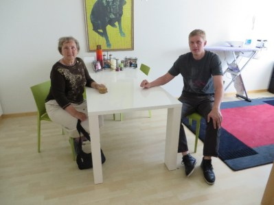 Kathy and Karl Geiger in his apartment in Zug, Switzerland