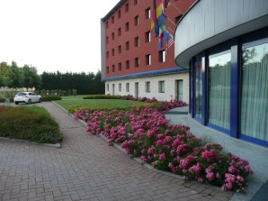 Front of the Hilton Garden Airport Hotel in Malpensa, Italy
